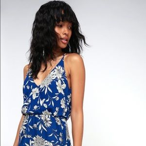 LUSH Along the Waterway Blue Floral Midi Dress